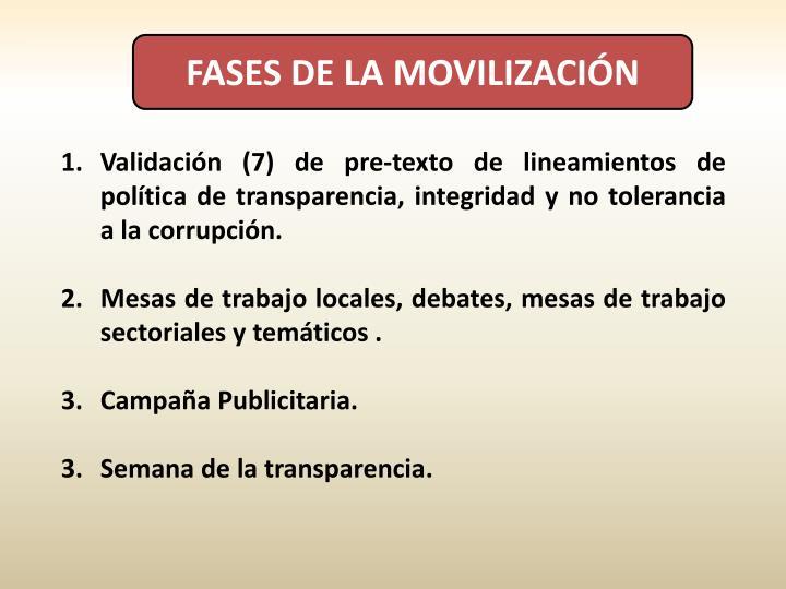 FASES DE LA MOVILIZACIÓN