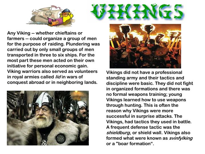 Any Viking -- whether chieftains or farmers -- could organize a group of men for the purpose of raid...