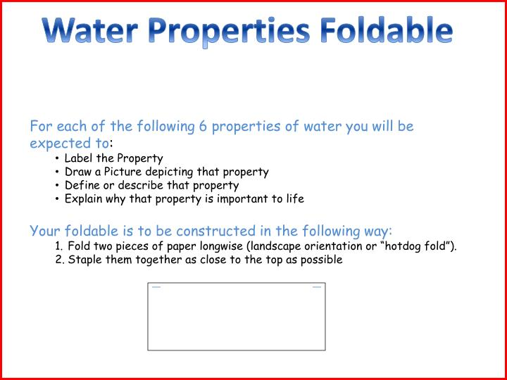 Water Properties Foldable