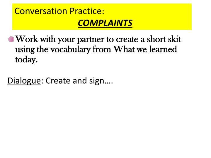 Conversation Practice: