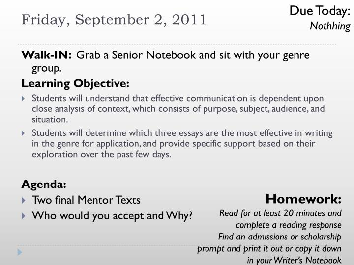 Due Today: