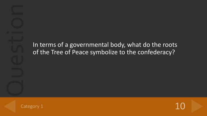 In terms of a governmental body, what do the roots of the Tree of Peace symbolize to the confederacy?