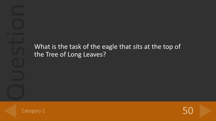 What is the task of the eagle that sits at the top of the Tree of Long Leaves?
