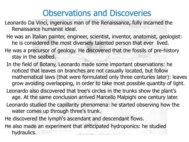 Observations and Discoveries