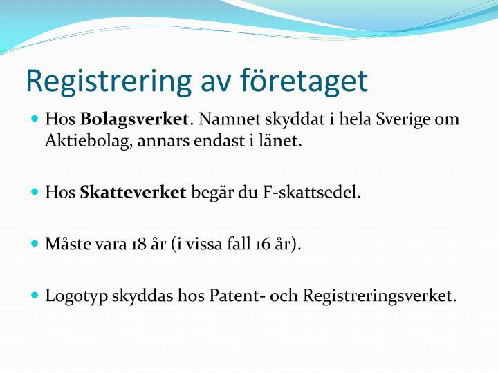 Registrering av företaget