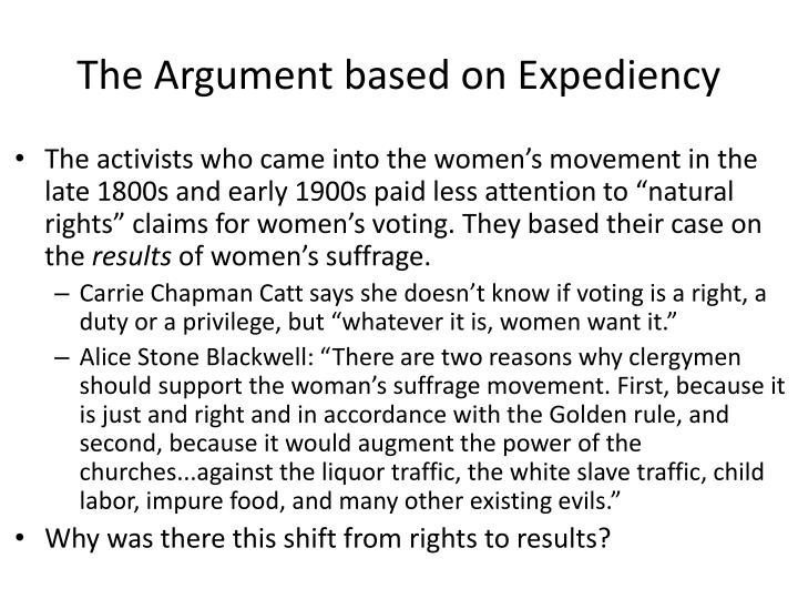 The Argument based on Expediency