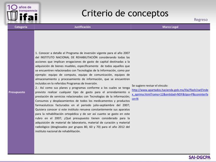 Criterio de conceptos