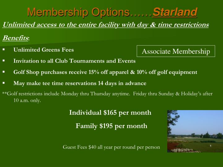 Membership Options……