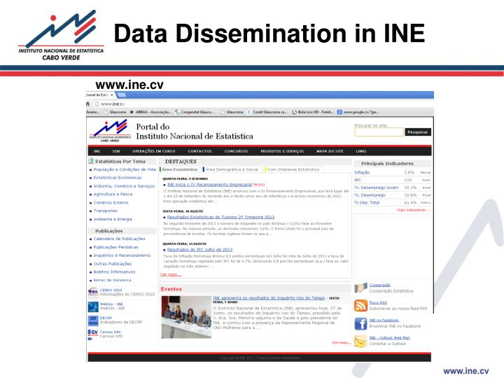 Data Dissemination in INE