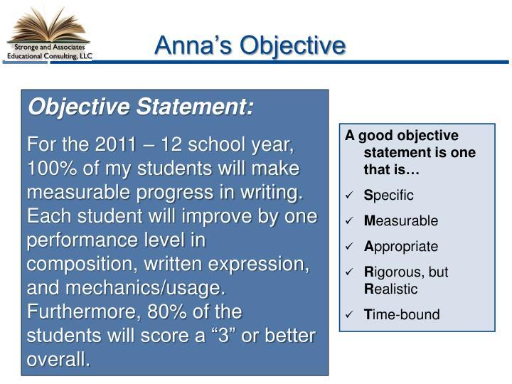 Anna's Objective