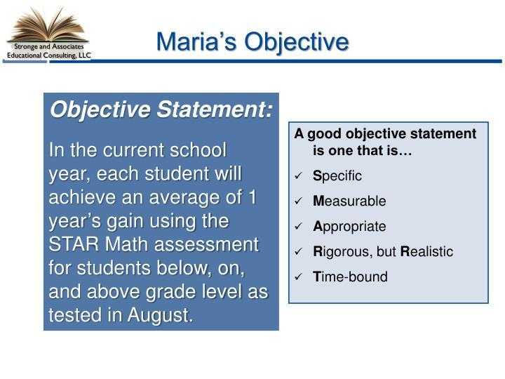 Maria's Objective
