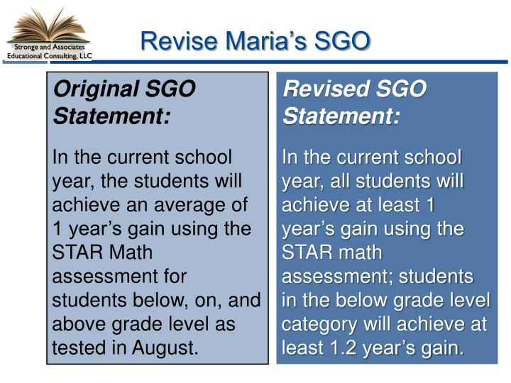 Revise Maria's SGO