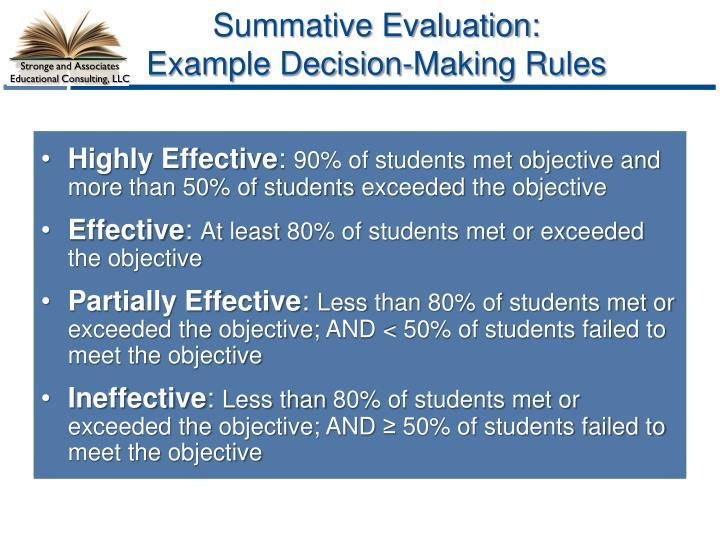 Summative Evaluation:
