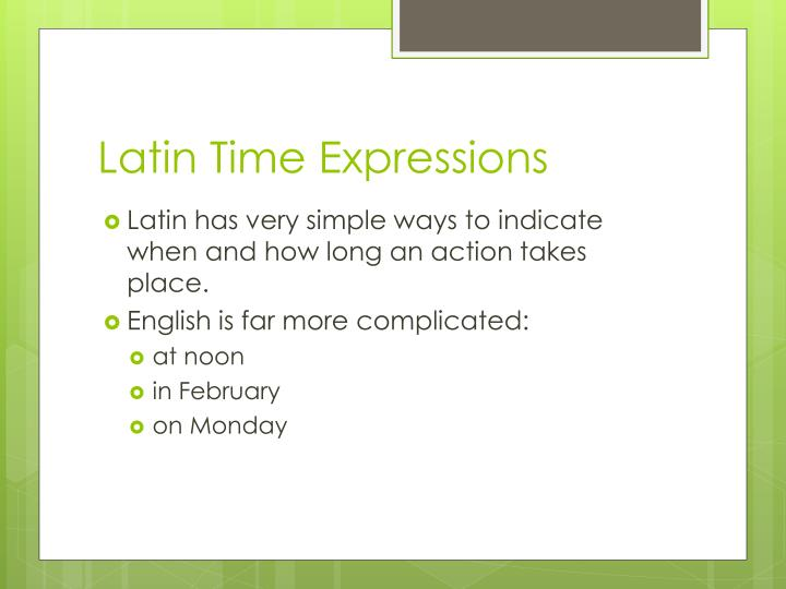 Latin Time Expressions