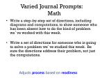 varied journal prompts math