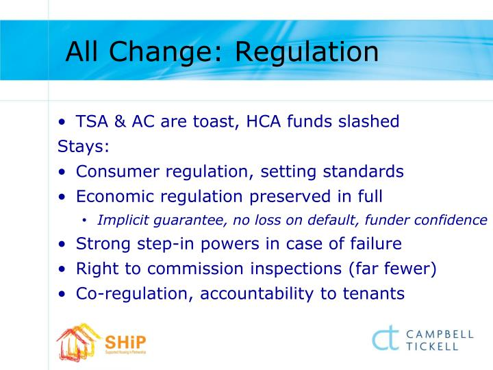 All Change: Regulation