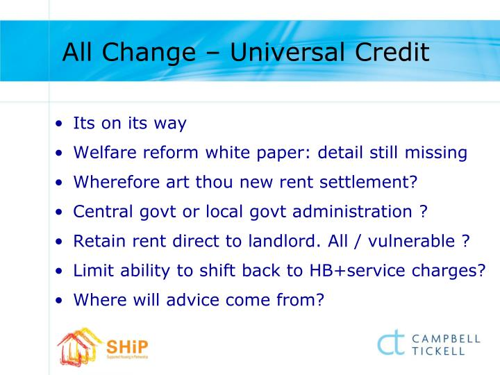 All Change – Universal Credit