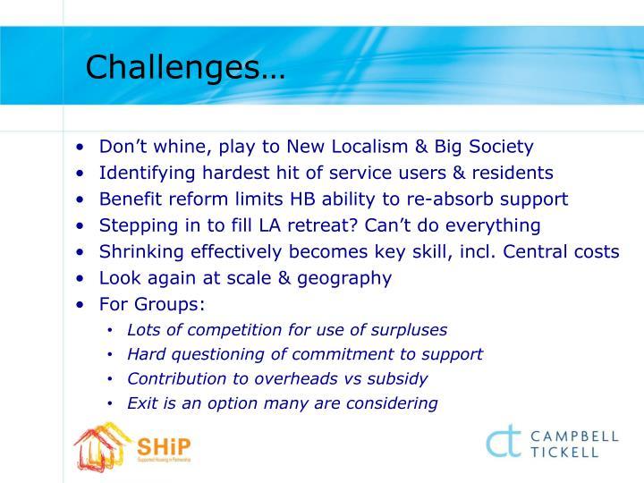 Challenges…