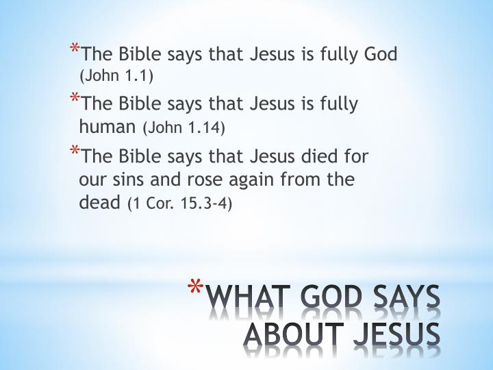 The Bible says that Jesus is fully God