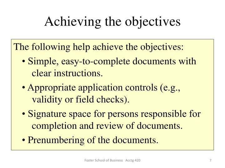 Achieving the objectives