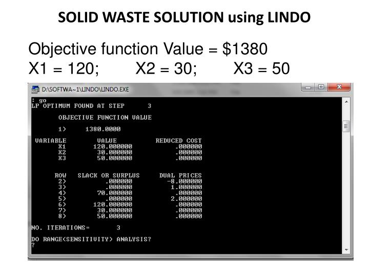 SOLID WASTE SOLUTION using LINDO