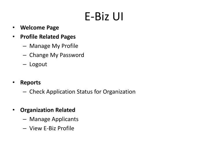 E-Biz UI