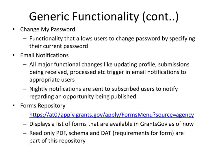 Generic Functionality (cont..)