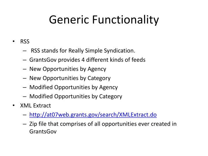 Generic Functionality