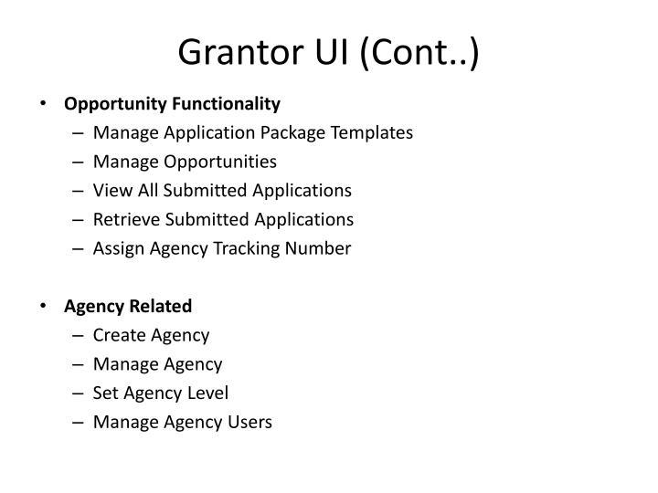 Grantor UI (Cont..)