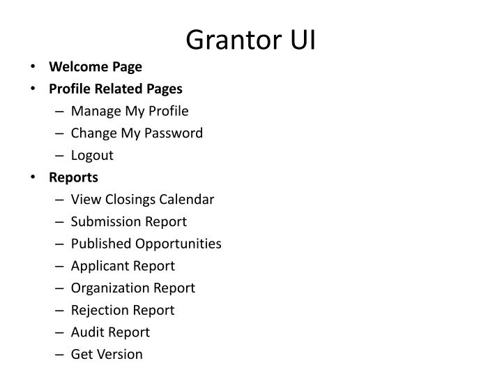 Grantor UI