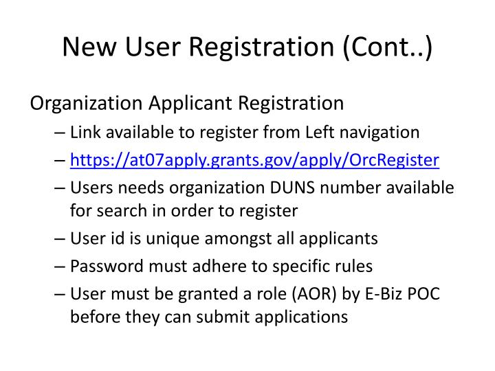 New User Registration (Cont..)
