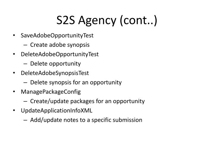 S2S Agency (cont..)