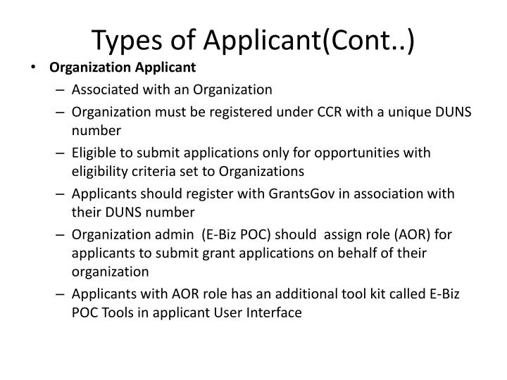 Types of Applicant(Cont..)