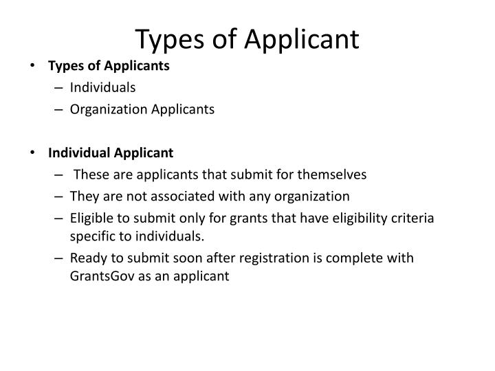 Types of Applicant