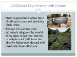 childhood experiences with nature
