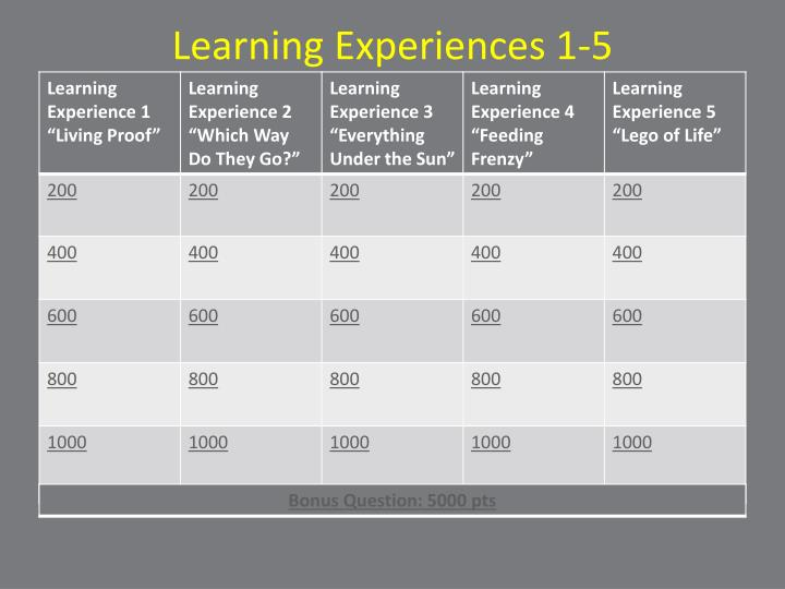 Learning Experiences 1-5