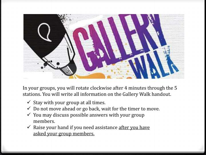 In your groups, you will rotate clockwise after 4 minutes through the 5 stations. You will write all information on the Gallery Walk handout.