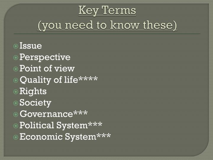 Key terms you need to know these