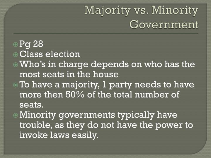 Majority vs. Minority Government