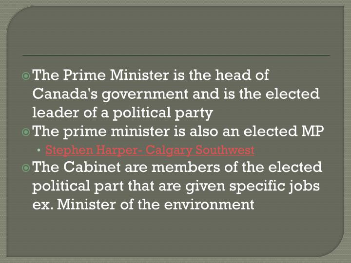 The Prime Minister is the head of Canada's government and is the elected leader of a political party