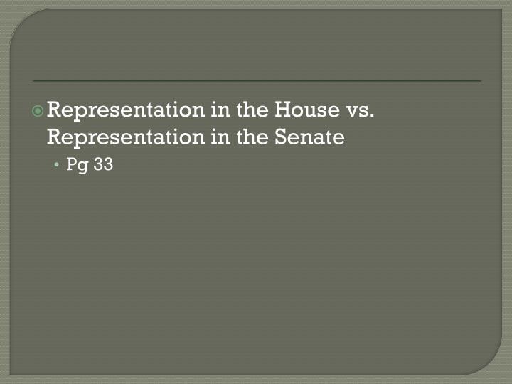 Representation in the House vs. Representation in the Senate