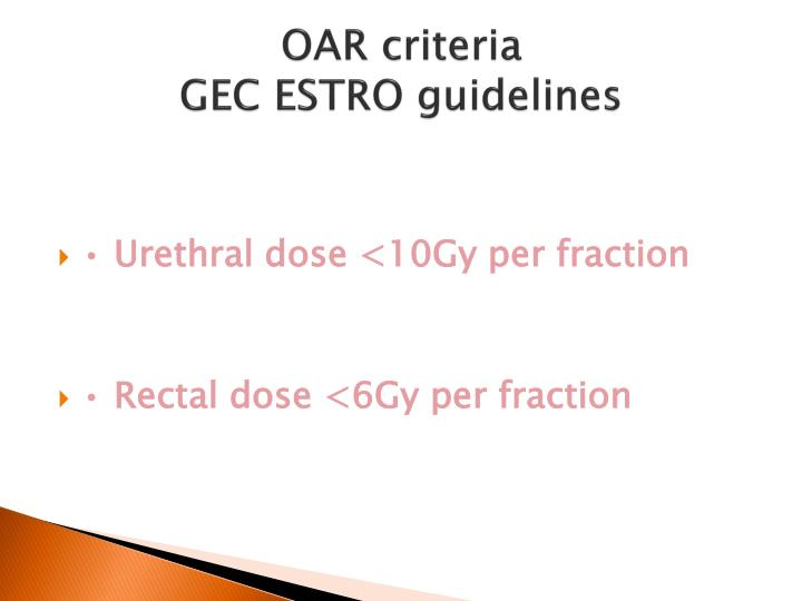 OAR criteria