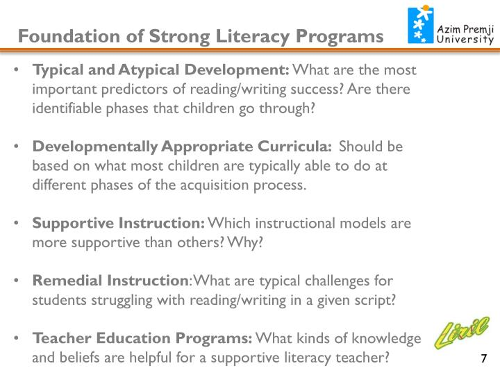 Foundation of Strong Literacy Programs