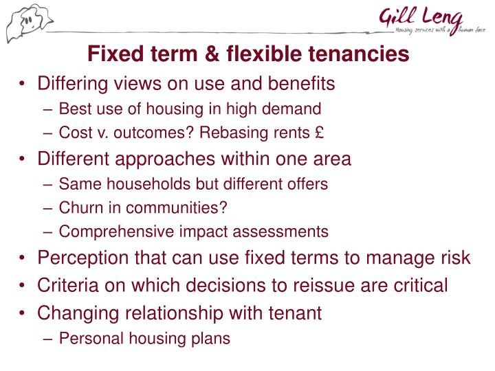 Fixed term & flexible tenancies