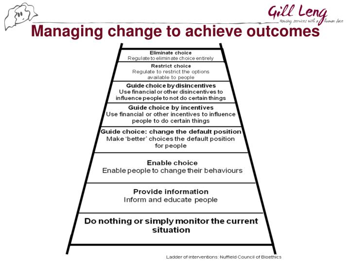Managing change to achieve outcomes