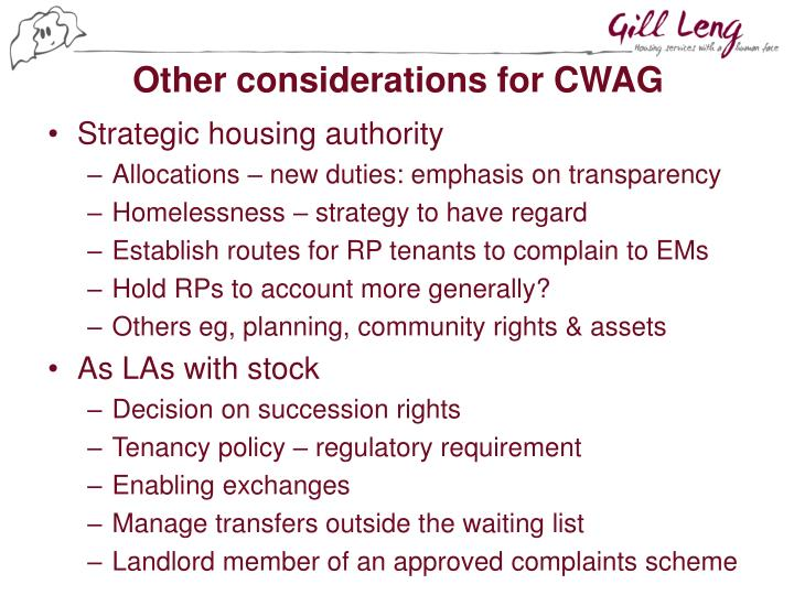Other considerations for CWAG