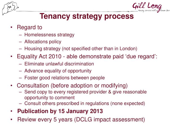 Tenancy strategy process