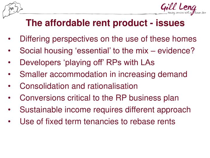 The affordable rent product - issues