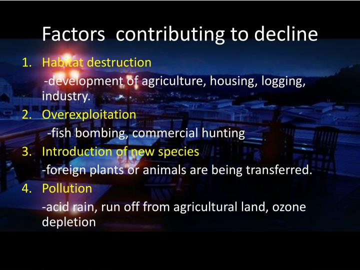 Factors  contributing to decline