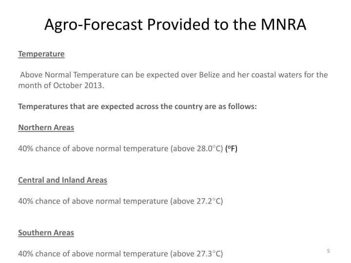 Agro-Forecast Provided to the MNRA